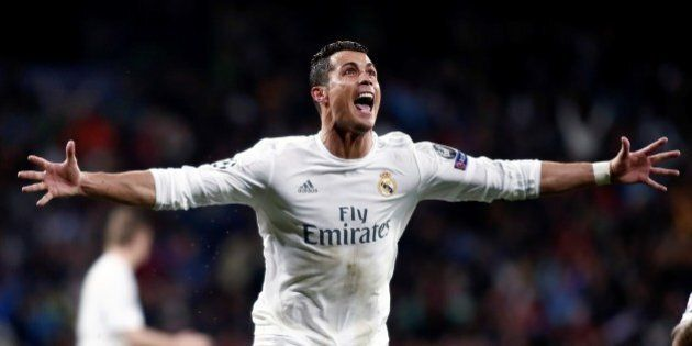 MADRID, SPAIN - APRIL 12: Cristiano Ronaldo of Real Madrid celebrates after scoring a goal during the UEFA Champions League's quarter final soccer match between Real Madrid and Wolfsburg at Santiago Bernabeu stadium in Madrid, Spain on April 12, 2016. (Photo by Burak Akbulut/Anadolu Agency/Getty Images)
