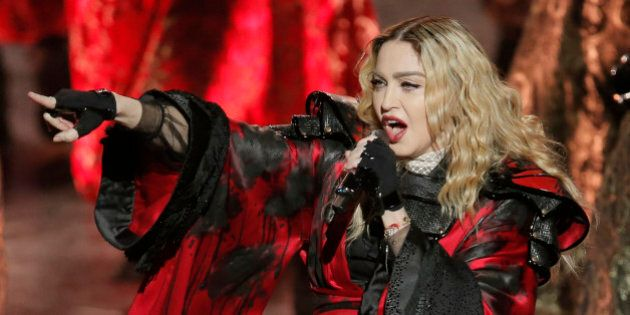 U.S. singer Madonna performs during the Rebel Heart World Tour in Macau, China, Saturday, Feb. 20, 2016....