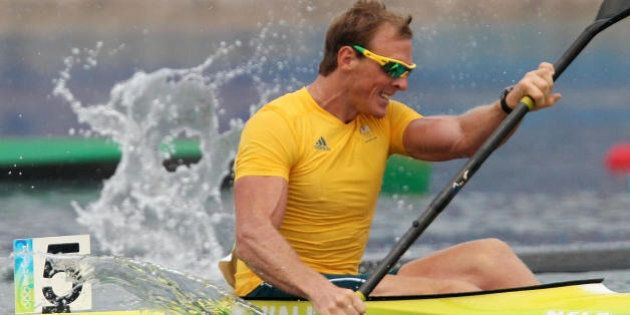 Australia's Ken Wallace competes in the 2008 Beijing Olympic Games men's Kayak K1 1000m flatwater semi-final...