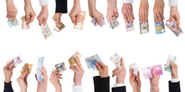 a lot of hands with important currencies isolated on