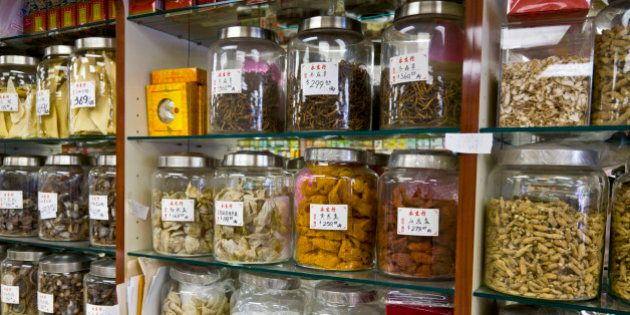 Ingredients for sale at Traditional Chinese Medicine Store, Chinatown, Toronto, Ontario, Canada, North