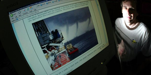Snopes ownerDavid Mikkelson poses next to adoctored storm photo. He is at the center of a legal battle for control over the popular fact-checkingsite.