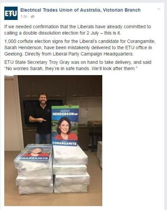 Liberal Party Accidentally Sends Sarah Henderson's Election Signs To Electrical Trade