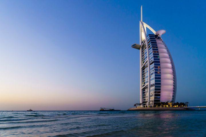 Burj Al Arab luxury hotel on Jumeirah Beach, Dubai.
