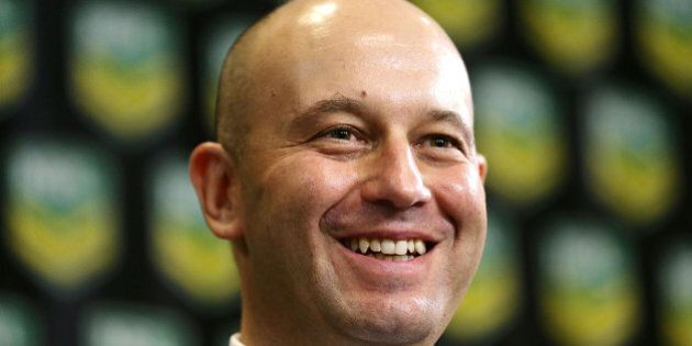 SYDNEY, AUSTRALIA - MARCH 18: Todd Greenberg smiles during a NRL press conference at NRL Headquarters...
