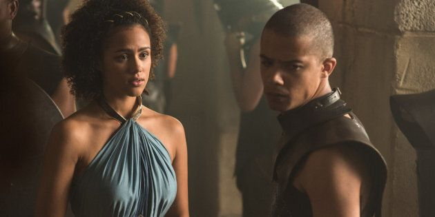Missandei and Grey Worm in Season 5.