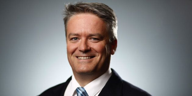 Mathias Cormann, Australia's finance minister, poses for a photograph following a Bloomberg Television...