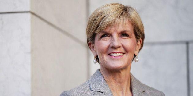 CANBERRA, AUSTRALIA - SEPTEMBER 20: Minister for Foreign Affairs Julie Bishop listens to Prime Minister...