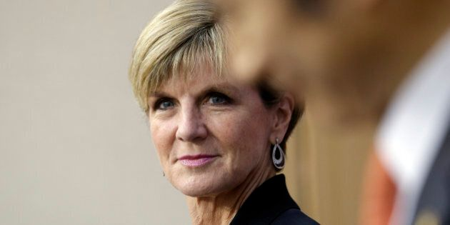 Australian Foreign Minister Julie Bishop, left, listens to South Korean Foreign Minister Yun Byung-se...
