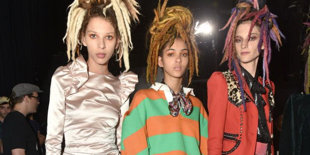 Models pose backstage at the Marc Jacobs SS17 fashion show during New York Fashion Week at Hammerstein Ballroom on September 15, 2016 in New York City.
