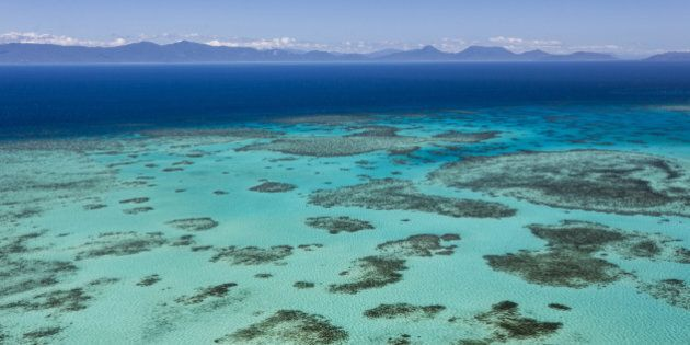 An inshore reef seen from the air, Queensland, Great Barrier