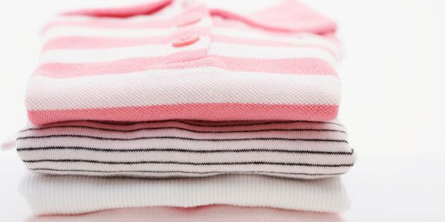 Folded baby clothes