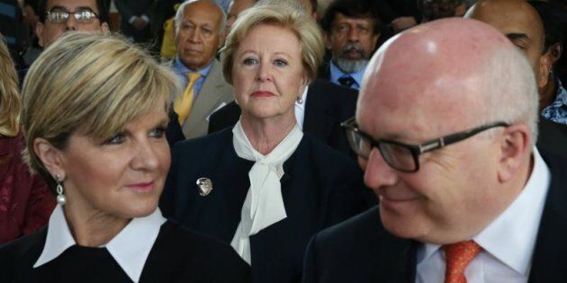 Foreign Affairs Minister Julie Bishop and Attorney-General George Brandis with Gillian Triggs at the...