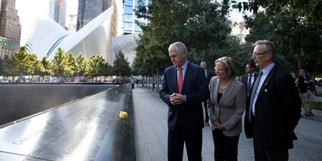 Prime Minister Malcolm Turnbull with Lucy Turnbull visit the 9/11 Memorial in
