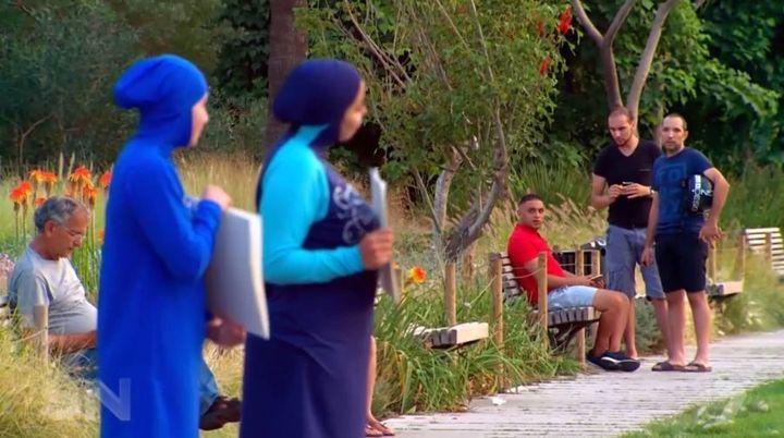 French locals look at Zeynab Alshelh.