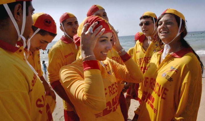 Volunteer lifeguard Mecca Laalaain a burkini uniform.