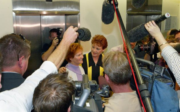 Pauline Hanson, with sister Judy Smith, announced her application for an independent Senate seat in Queensland...