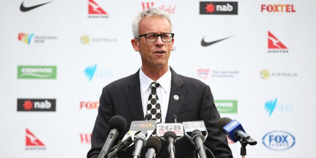 SYDNEY, AUSTRALIA - MARCH 03: FFA CEO, David Gallop addresses the media during a press conference to...