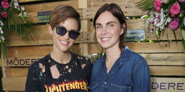 WEST HOLLYWOOD, CA - SEPTEMBER 17: Actress Ruby Rose (L) and designer Phoebe Dahl attend Kari Feinstein's...