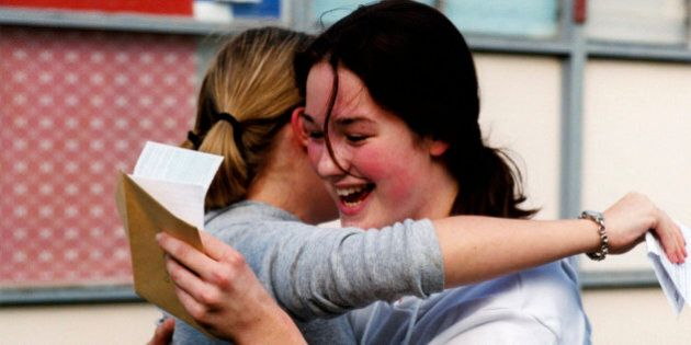 GCSE exam results, Cardinal Heenan High school, Leeds. (Photo by: Photofusion/UIG via Getty