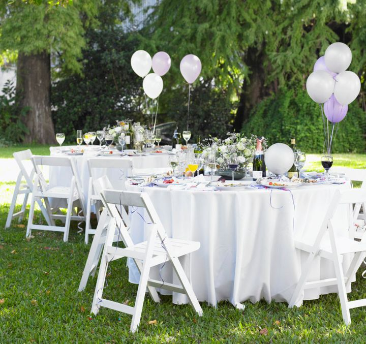Consider hosting a garden party in your own yard to keep costs low.