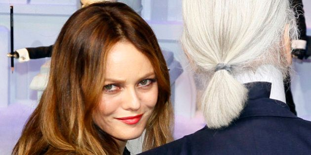 French actress and singer Vanessa Paradis, left, and fashion designer Karl Lagerfeld pose front of a...