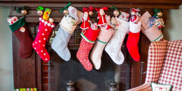 Stuffed Christmas stockings over