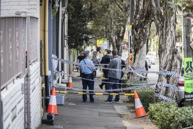 Police at the scene of overnight terror raids in Surry Hills on July 30, 2017 in Sydney, Australia. Counter...
