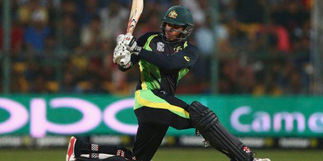 BANGALORE, INDIA - MARCH 21: Usman Khawaja of Australia bats during the ICC World Twenty20 India 2016...