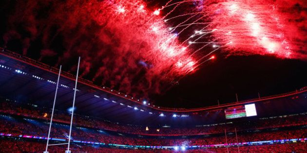 LONDON, ENGLAND - SEPTEMBER 18: Fireworks light up the sky during the opening ceremony ahead of the 2015...