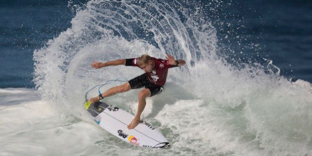 Hawaiian surfer Mick Fanning competes in the 2015 Oi Rio Pro World Surf League competition at Barra da...