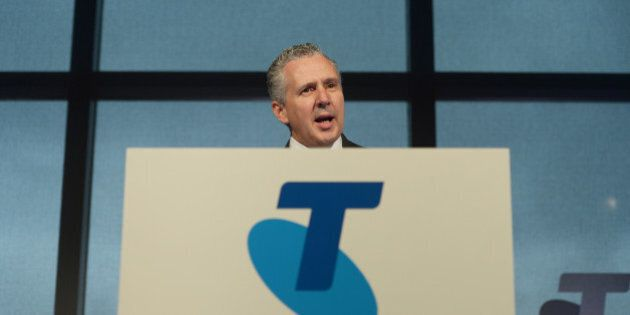 Andrew Penn, chief executive officer of Telstra Corp., speaks during a news conference in Melbourne,...