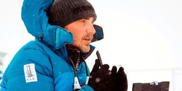 Turney, on the deck of the stranded MV Akademik Shokalskiy in Antarctica, December 2013.