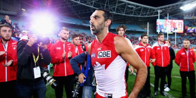 SYDNEY, AUSTRALIA - SEPTEMBER 19: Adam Goodes of the Swans walks from the ground after the First AFL...