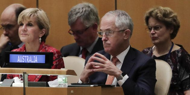 Prime Minister Malcolm Turnbull listens during the 71st session of the United Nations General