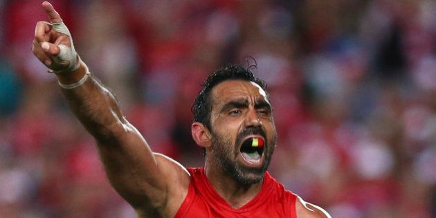 SYDNEY, AUSTRALIA - SEPTEMBER 19:  Adam Goodes of the Swans reacts after missing a shot at goal during the First AFL Semi Final match between the Sydney Swans and the North Melbourne Kangaroos at ANZ Stadium on September 19, 2015 in Sydney, Australia.  (Photo by Ryan Pierse/Getty Images)