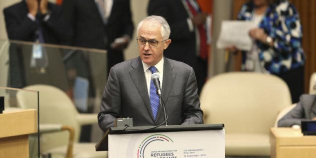 prime minister Malcolm Turnbull speaks during the Summit for Refugees and Migrants at U.N.