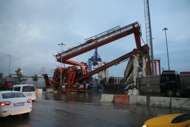 A crane at Haydarpasa Port, near the Bosphorous collapsed  during the storm.
