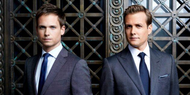 SUITS -- Season: 2 -- Pictured: (l-r) Patrick J. Adams as Mike Ross, Gabriel Macht as Harvey Specter...