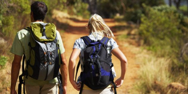 Rear view of a  couple backpacking
