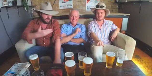 Turnbull and his beers, with the Betoota Advocate, during the March interview