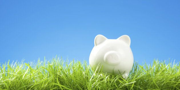 White Piggy Bank in Grass, Blue Sky and Copy