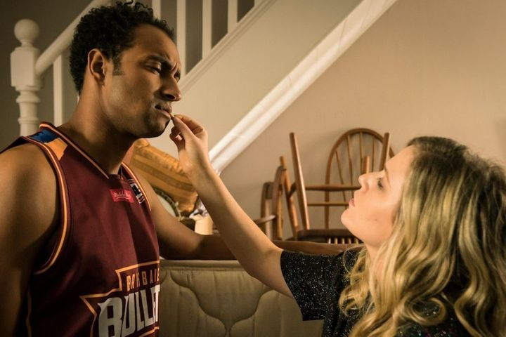 Matt Okine and Harriet Dyer in 'The Other Guy'.
