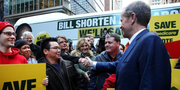 Opposition Leader, Australian Labor Party Bill Shorten greets supporters during a Medicare Rally