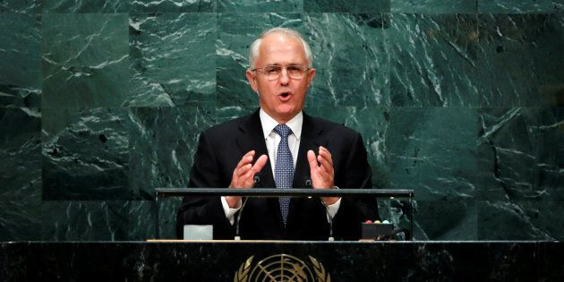 Australia's Prime Minister Malcolm Turnbull addresses the United Nations General Assembly in the Manhattan...