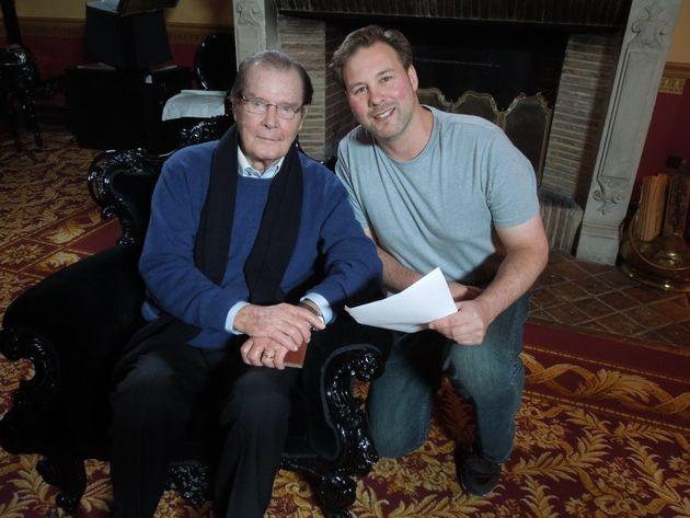 FIlmmaker Andrew Lumley with James Bond royalty Sir Roger