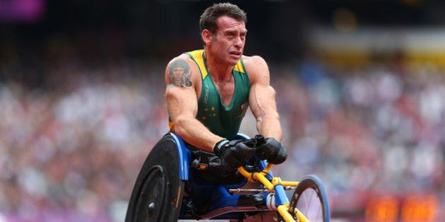 LONDON, ENGLAND - SEPTEMBER 01:  Richard Nicholson of Australia competes in the Men's 100m - T54 heats on day 3 of the London 2012 Paralympic Games at Olympic Stadium on September 1, 2012 in London, England.  (Photo by Michael Steele/Getty Images)