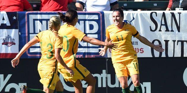 Lisa De Vanna (11) of Australia celebrates after scoring.