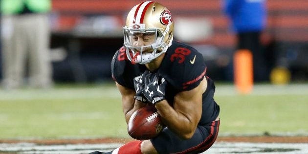 San Francisco 49ers' Jarryd Hayne (38) fumbles a punt that was recovered by the Minnesota Vikings during the first half of an NFL football game in Santa Clara, Calif., Monday, Sept. 14, 2015. (AP Photo/Tony Avelar)