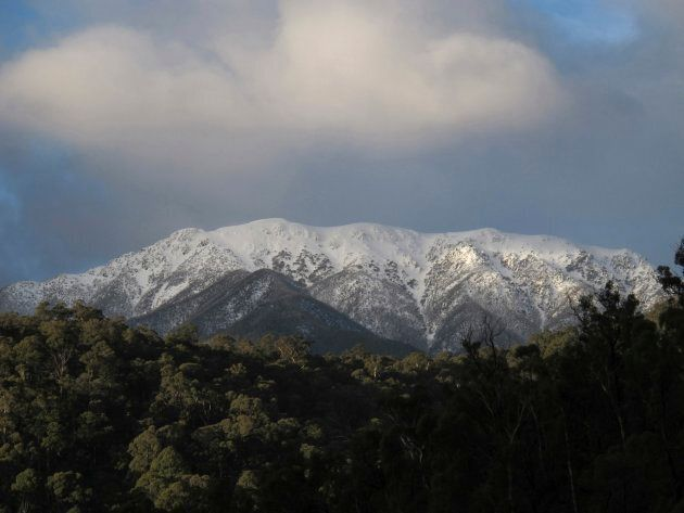 Mount Bogong in winter. Courtney did his run in May when the peak had just a dusting of snow on top,...